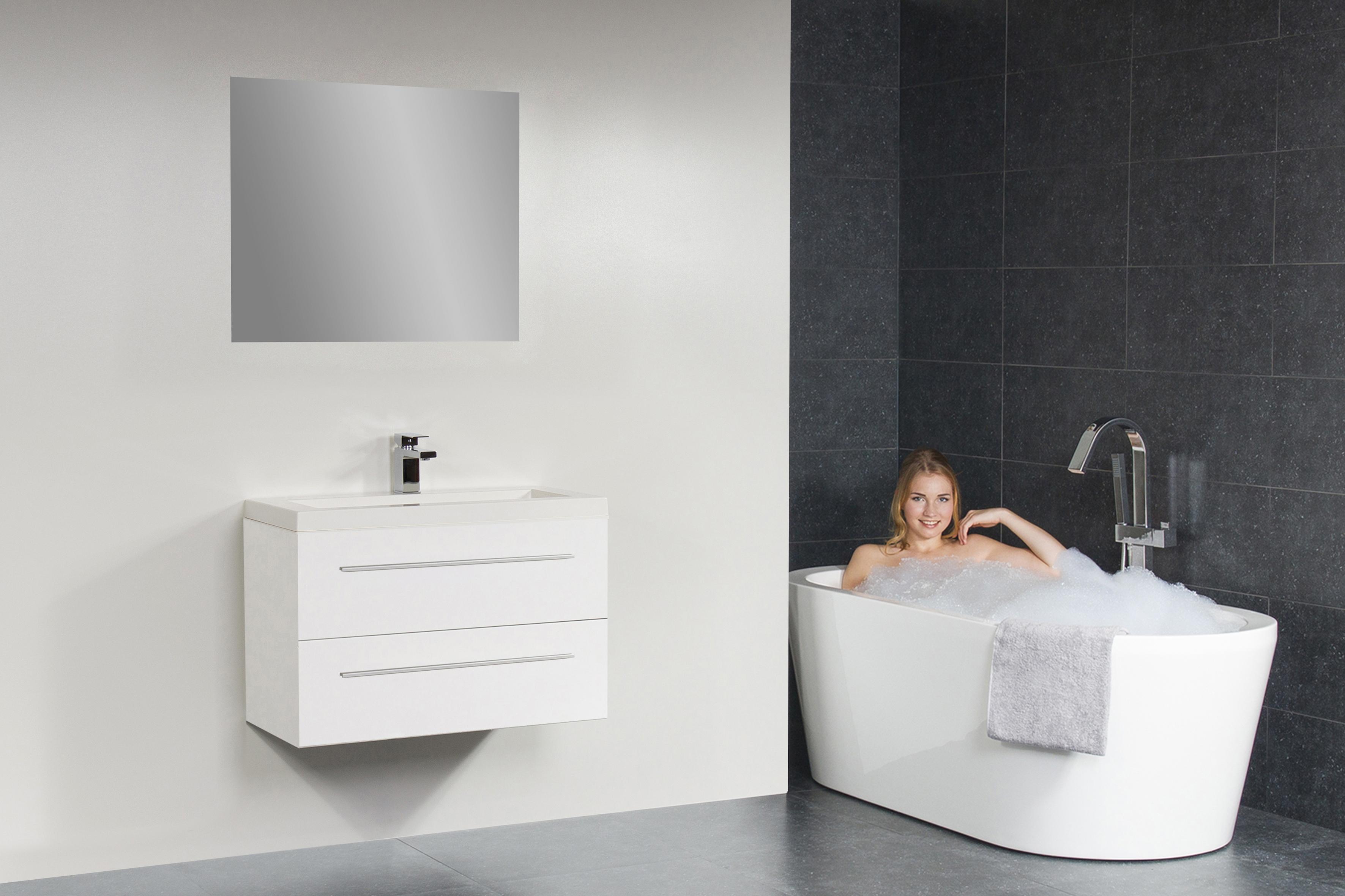 Sub 102 badmeubel met blad met hoge kast met spiegelkast 80 cm wit